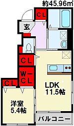 仮)本城東2丁目新築アパート[101号室]の間取り
