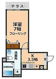 京王井の頭線 永福町駅 徒歩6分の賃貸マンション 2階1Kの間取り