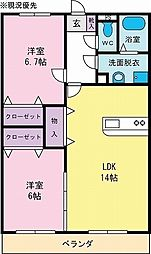 ルボヌールII[1階]の間取り