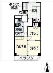 ハピネス大野[4階]の間取り