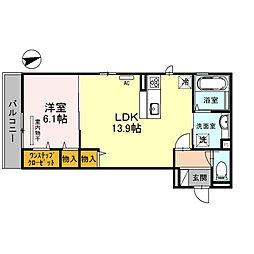 泉北高速鉄道 深井駅 徒歩13分の賃貸アパート 3階1LDKの間取り