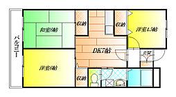 大阪府松原市天美我堂1丁目の賃貸マンションの間取り