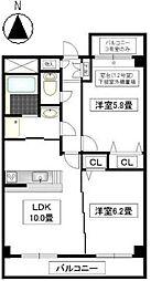 ベルカーサ東山台II[2階]の間取り