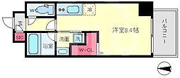 セルン新町 8階ワンルームの間取り