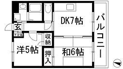 兵庫県伊丹市鋳物師2丁目の賃貸マンションの間取り