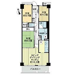 ライオンズマンション西宮高座D棟[7階]の間取り