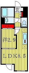 アトラスカーロ赤羽 4階1LDKの間取り