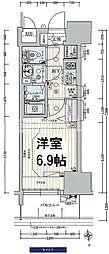 プレサンス阿波座駅前 2階1Kの間取り