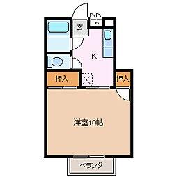 長野県松本市野溝西3丁目の賃貸アパートの間取り
