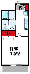 JR鹿児島本線 古賀駅 徒歩1分の賃貸マンション 9階1Kの間取り