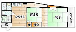 福岡県北九州市戸畑区中原西3丁目の賃貸アパートの間取り