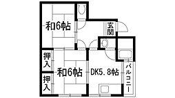 兵庫県伊丹市瑞穂町2丁目の賃貸マンションの間取り