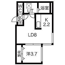 フェリーチェ新札幌 5階1LDKの間取り