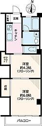 東京メトロ丸ノ内線 後楽園駅 徒歩7分の賃貸マンション 2階2Kの間取り