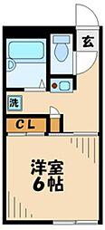 京王相模原線 京王多摩センター駅 バス18分 落川下車 徒歩8分の賃貸マンション 2階1Kの間取り