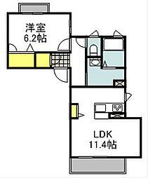 シャーメゾン北江口 3階1LDKの間取り