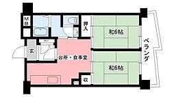 武庫川団地(UR)7号棟[719号室]の間取り