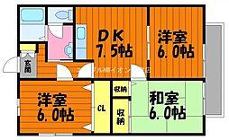 岡山県倉敷市藤戸町天城丁目なしの賃貸アパートの間取り