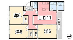 リノスタイル姫路北条[204号室]の間取り