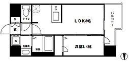 プレサンス南堀江 10階1LDKの間取り