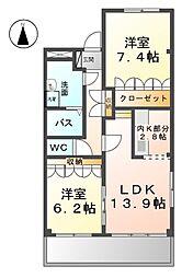 愛知県名古屋市西区野南町の賃貸マンションの間取り