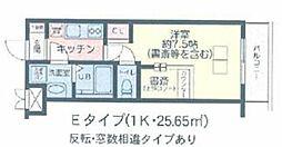 JR山手線 目白駅 徒歩8分の賃貸マンション 地下1階1Kの間取り