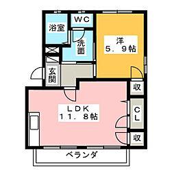 レイク・ステ−シアA・B[2階]の間取り