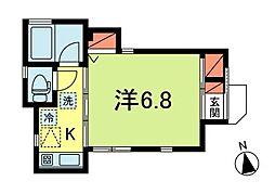 JR中央本線 荻窪駅 徒歩14分の賃貸アパート 1階1Kの間取り