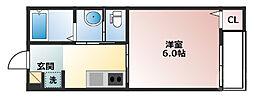阪急宝塚本線 三国駅 徒歩9分の賃貸アパート 1階1Kの間取り
