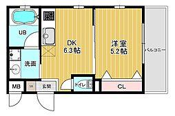 ピアッツァレント八木東 2階1DKの間取り