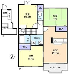 千葉県船橋市三咲3丁目の賃貸アパートの間取り