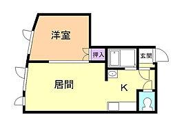 トキメック円山並木通2 2階1LDKの間取り