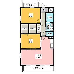 ラスターハイツII[2階]の間取り