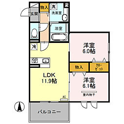 (仮)D-room南鳩ヶ谷2丁目[203号室]の間取り