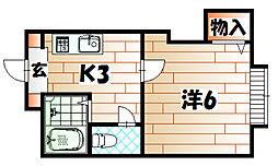 福岡県北九州市八幡西区則松5丁目の賃貸アパートの間取り
