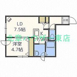 札幌市営東豊線 元町駅 徒歩8分の賃貸マンション 2階1LDKの間取り