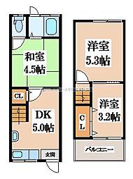 [テラスハウス] 大阪府大東市南津の辺町 の賃貸【/】の間取り