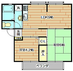 大阪府高槻市上土室1丁目の賃貸アパートの間取り