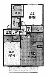 茨城県つくばみらい市陽光台3丁目の賃貸アパートの間取り