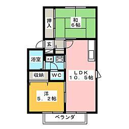 ファミーユ大橋 B棟[2階]の間取り