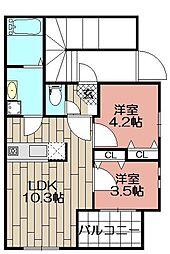 Ksumiyoshi[101号室]の間取り