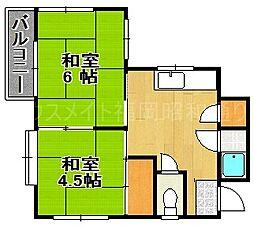 福岡県福岡市中央区今川1の賃貸マンションの間取り