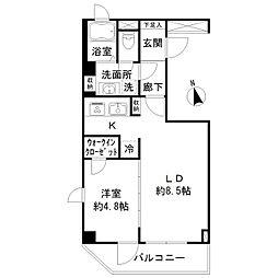 東京メトロ半蔵門線 半蔵門駅 徒歩10分の賃貸マンション 4階1LDKの間取り