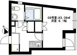 ビーカーサヨコハマナガタ[1階]の間取り