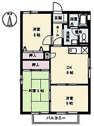 広島県広島市佐伯区新宮苑の賃貸アパートの間取り