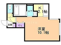 アマン恵庭 3階1Kの間取り