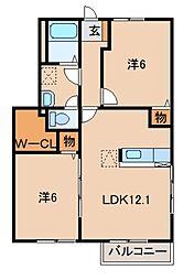 和歌山県御坊市湯川町小松原の賃貸アパートの間取り