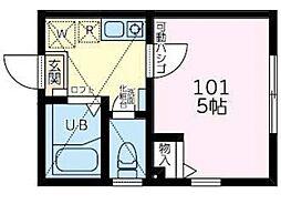 小田急小田原線 向ヶ丘遊園駅 徒歩21分の賃貸アパート 2階1Kの間取り