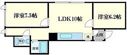 タルタビル 2階2LDKの間取り