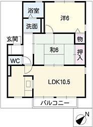 セジュール亀山G棟[1階]の間取り
